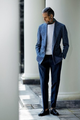 How to wear: black leather loafers, navy dress pants, white sweatshirt, navy wool double breasted blazer