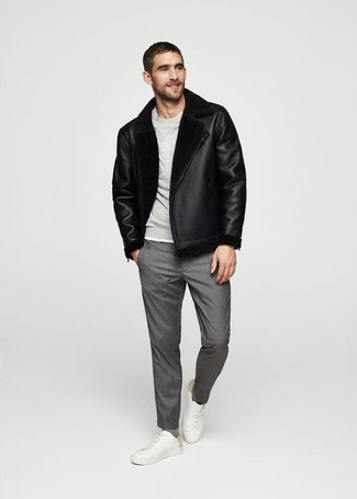 How to wear: white leather low top sneakers, grey dress pants, grey sweatshirt, black shearling jacket