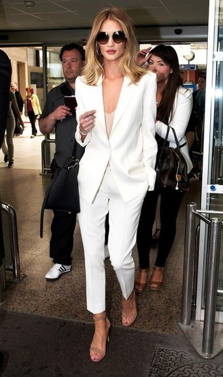 How to wear: beige suede heeled sandals, white dress pants, beige tank, white blazer
