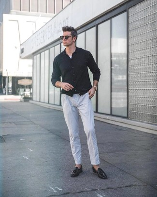 How to wear: black leather tassel loafers, grey linen dress pants, white tank, black cardigan