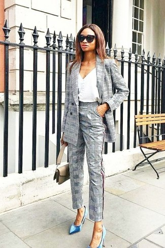 How to Wear Grey Plaid Dress Pants For Women (17 looks   outfits ... 2881cc01e