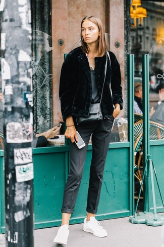 How to wear: white leather low top sneakers, black dress pants, black silk tank, black fur jacket