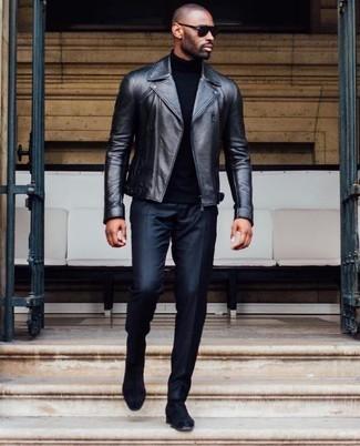 How to wear: black suede chelsea boots, black dress pants, black turtleneck, black leather biker jacket