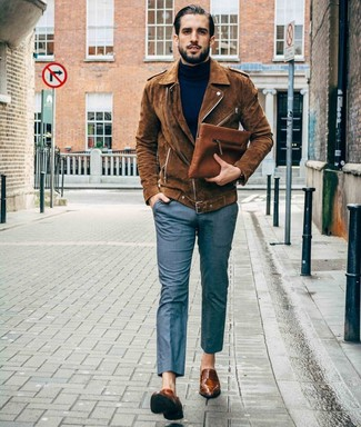 How to Wear Dress Shoes For Men: Such items as a brown suede biker jacket and grey dress pants are the ideal way to infuse extra refinement into your daily collection. To bring a little zing to your outfit, complement your look with dress shoes.