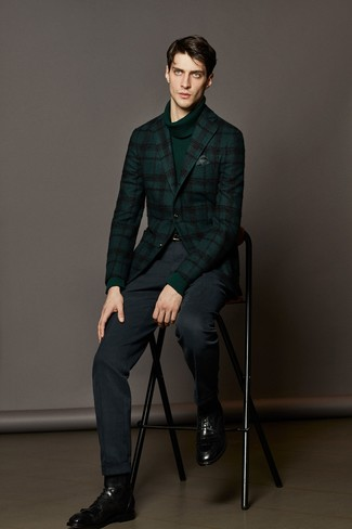 How to wear: black leather dress boots, navy dress pants, dark green turtleneck, dark green plaid wool blazer
