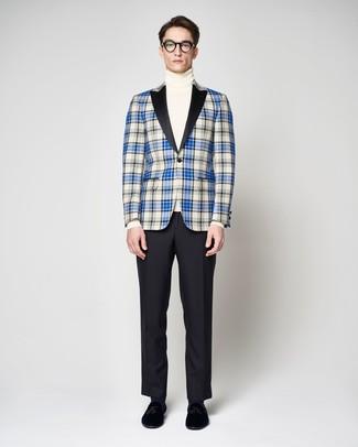 How to wear: black velvet tassel loafers, black dress pants, white turtleneck, blue plaid blazer