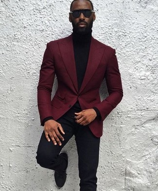 How to wear: black suede derby shoes, black dress pants, black turtleneck, burgundy wool blazer