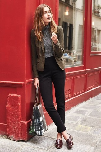 How to wear: brown leather loafers, black dress pants, grey turtleneck, brown cotton blazer