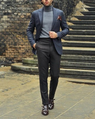 How to wear: dark brown leather double monks, charcoal wool dress pants, grey turtleneck, grey check wool blazer