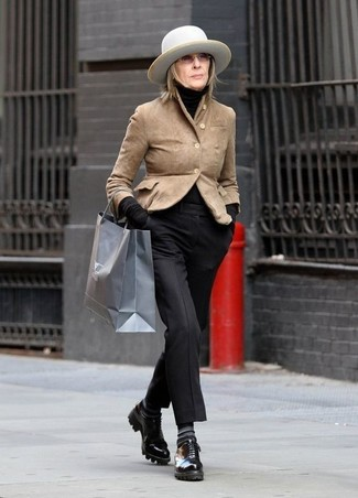 How to wear: black leather derby shoes, black dress pants, black turtleneck, tan suede blazer