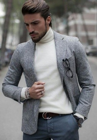How to wear: dark brown leather belt, charcoal wool dress pants, white turtleneck, grey wool blazer