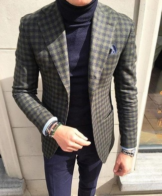 How to Wear an Olive Bracelet For Men: Wear an olive check wool blazer and an olive bracelet for a modern casual ensemble that's also easy to wear.