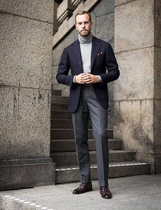 How to wear: dark brown leather brogues, grey wool dress pants, grey turtleneck, black wool blazer