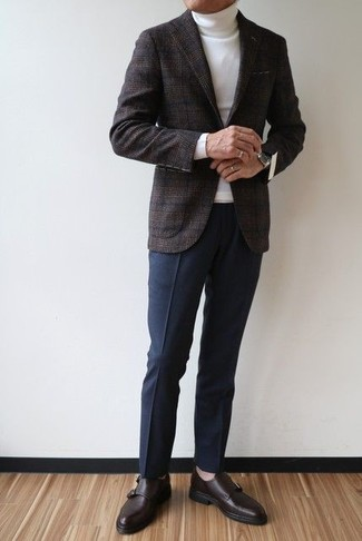 How to wear: dark brown leather monks, navy dress pants, white turtleneck, charcoal plaid wool blazer