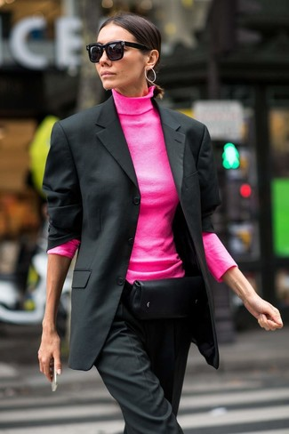 How to wear: black leather fanny pack, black dress pants, hot pink turtleneck, black blazer
