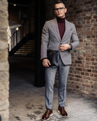 How to wear: brown leather brogues, grey dress pants, burgundy turtleneck, grey gingham wool blazer