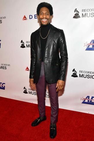 How to wear: black leather loafers, dark purple dress pants, black turtleneck, black leather blazer