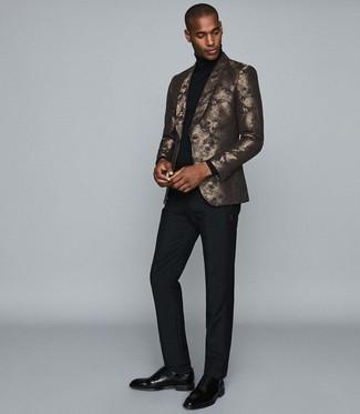 How to wear: black leather oxford shoes, black dress pants, black turtleneck, gold print blazer