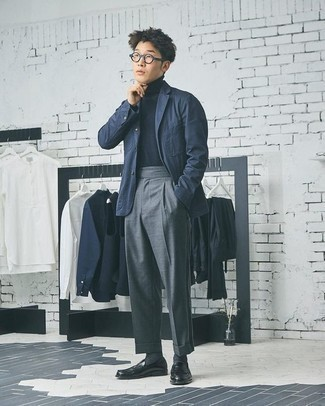 Men's Looks & Outfits: What To Wear In 2020: This pairing of a navy blazer and grey dress pants is the picture of elegance. Black leather loafers are a good idea to finish off your ensemble.