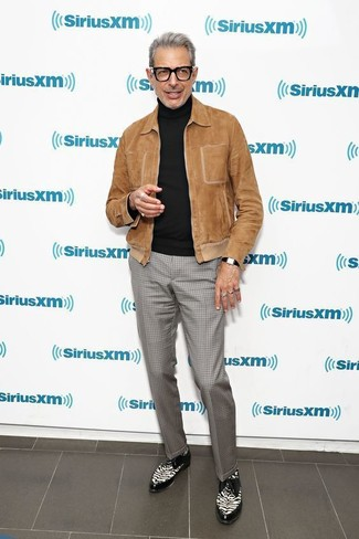 How to wear: black and white leather derby shoes, grey check dress pants, black turtleneck, brown suede bomber jacket