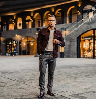 How to wear: burgundy leather chelsea boots, charcoal check dress pants, beige turtleneck, burgundy suede bomber jacket