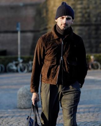 How to wear: navy canvas tote bag, charcoal wool dress pants, dark brown turtleneck, dark brown suede bomber jacket