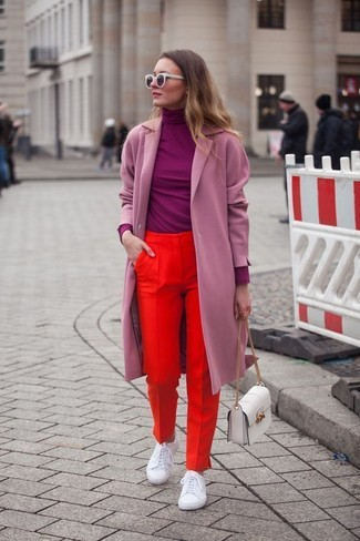 How to wear: white leather low top sneakers, red dress pants, purple turtleneck, pink coat