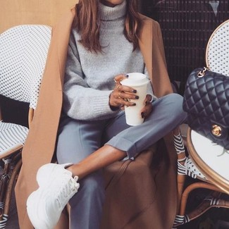 How to wear: white athletic shoes, grey dress pants, grey wool turtleneck, camel coat