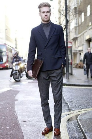 How to wear: brown leather tassel loafers, charcoal wool dress pants, charcoal turtleneck, navy double breasted blazer