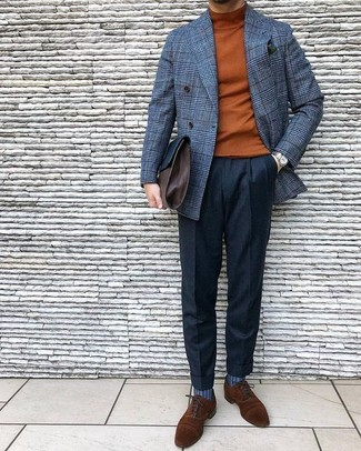 How to wear: brown suede oxford shoes, black wool dress pants, tobacco turtleneck, grey check wool double breasted blazer