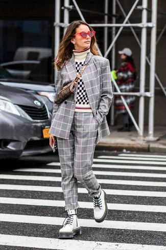 How to wear: white leather lace-up flat boots, grey plaid dress pants, white and black gingham turtleneck, grey plaid double breasted blazer