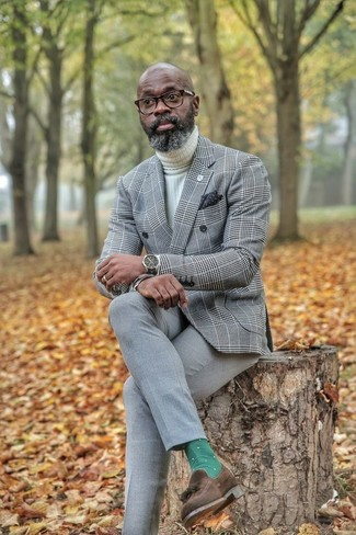 How to wear: dark brown suede tassel loafers, grey dress pants, white knit turtleneck, grey plaid double breasted blazer