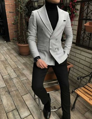 How to wear: black suede chelsea boots, black dress pants, black turtleneck, grey double breasted blazer