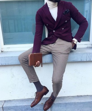 How to wear: dark brown leather oxford shoes, brown plaid dress pants, white turtleneck, dark purple double breasted blazer