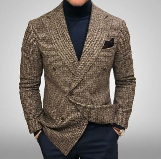 How to wear: black pocket square, navy dress pants, navy turtleneck, brown check wool double breasted blazer