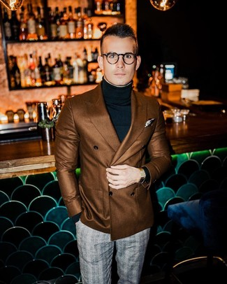 How to wear: beige print pocket square, grey plaid dress pants, black turtleneck, brown double breasted blazer