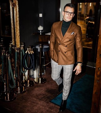 How to wear: black leather chelsea boots, grey plaid dress pants, dark green turtleneck, brown double breasted blazer