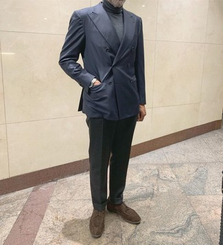How to wear: dark brown suede derby shoes, charcoal wool dress pants, charcoal turtleneck, navy double breasted blazer