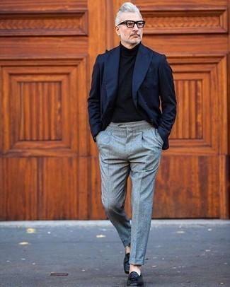 Rocketman Navy Double Breasted Wool Twill Suit Jacket