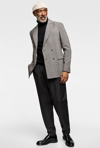 How to Wear Black Dress Pants For Men: Undeniable proof that a grey plaid double breasted blazer and black dress pants look amazing when paired together in a classy look for today's man. Go ahead and add black leather derby shoes to the equation for a playful touch.