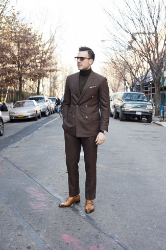 How to wear: tan double monks, dark brown dress pants, olive turtleneck, dark brown double breasted blazer