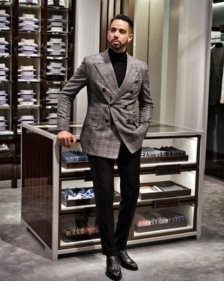 How to Wear a Double Breasted Blazer For Men: A double breasted blazer and black dress pants are a classy ensemble that every modern man should have in his closet. A pair of black leather loafers will effortlessly dial down a classic look.
