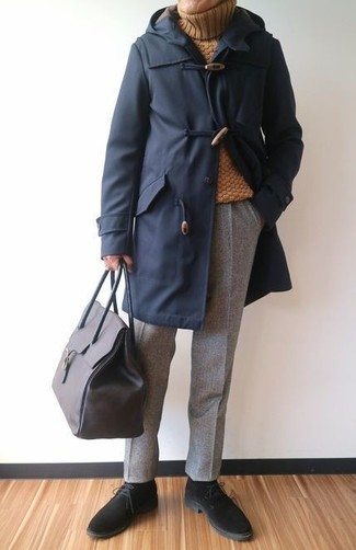 How to wear: black suede desert boots, grey wool dress pants, mustard wool turtleneck, navy duffle coat