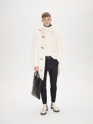 How to Wear a White Wool Turtleneck For Men: Teaming a white wool turtleneck with black dress pants is an amazing pick for a stylish and polished outfit. If you're hesitant about how to finish, introduce a pair of white leather chelsea boots to the equation.