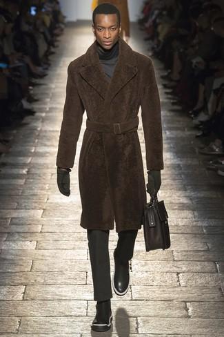How to wear: black leather chelsea boots, black dress pants, charcoal turtleneck, brown fur coat