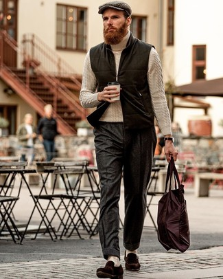 How to Wear Beige Socks For Men: To put together an off-duty getup with a city style finish, you can rock a black wool gilet and beige socks. Rev up this whole ensemble by finishing off with a pair of dark brown suede loafers.