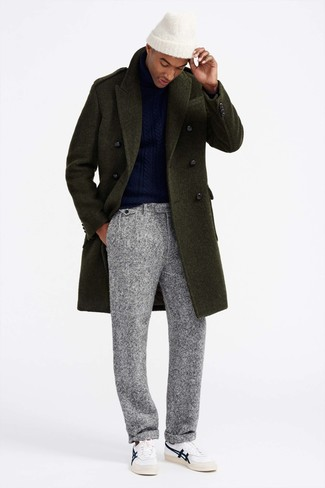How to wear: white leather low top sneakers, grey wool dress pants, navy knit turtleneck, olive overcoat