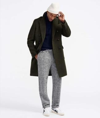 How to wear: white low top sneakers, grey wool dress pants, navy turtleneck, olive overcoat