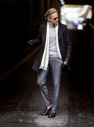 How to wear: black leather loafers, grey wool dress pants, grey turtleneck, black overcoat