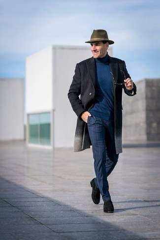 How to wear: black suede loafers, navy check dress pants, teal turtleneck, charcoal overcoat
